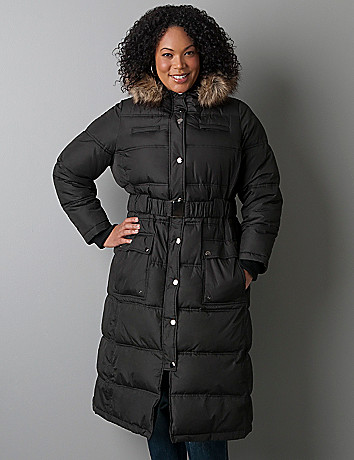 Quilted puffer maxi coat by Lane Bryant