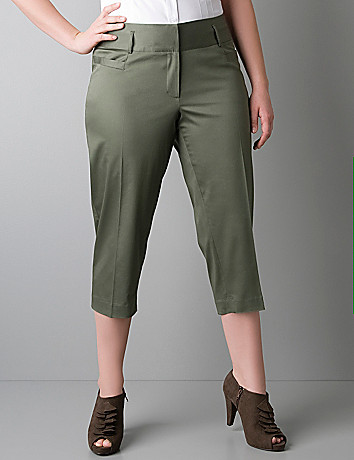 Plus size sateen crop pant