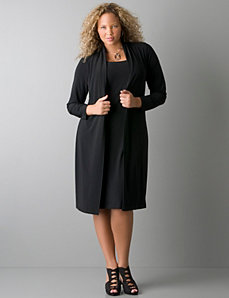 Solid color sheath dress with attached jacket by Lane Bryant
