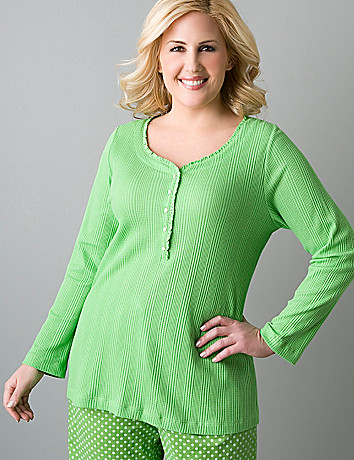 Plus size long sleeve waffle henley shirt