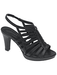 Wide width strappy zipper heeled sandal with non slip sole