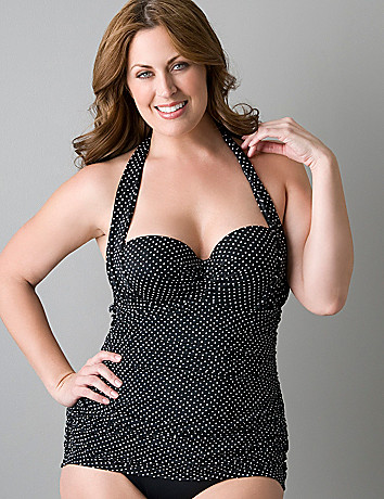 Plus size Retro shirred swimsuit with underwire