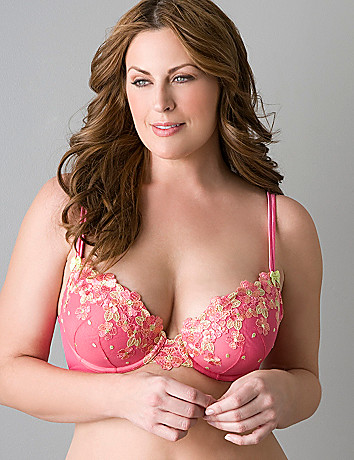 Honeysuckle embroidered plunge bra