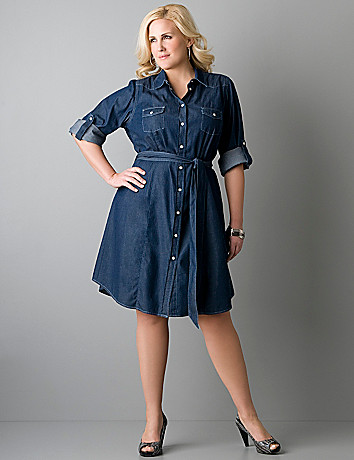 PLUS SIZE DENIM DRESS - Kapres Molene