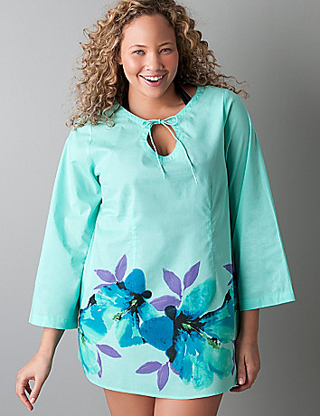 Plus sized Bloom print long sleeve swim tunic
