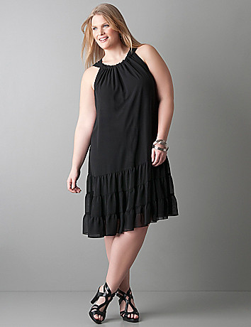 Sleeveless chiffon plus size ruffle dress