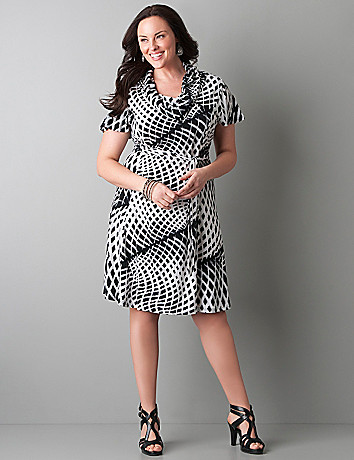 Plus size animal print cowl neck dress