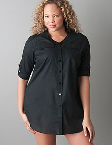 Plus size Rolled sleeve beach & swim cover up