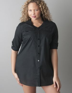 Rolled sleeve swim cover up