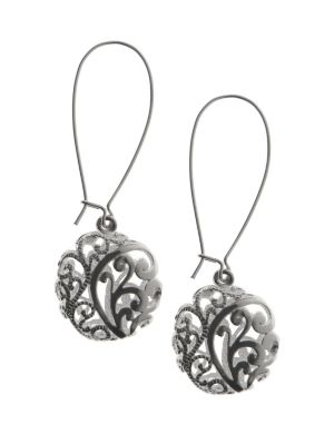 Silvertone filigree A-wire earrings by Lane Bryant