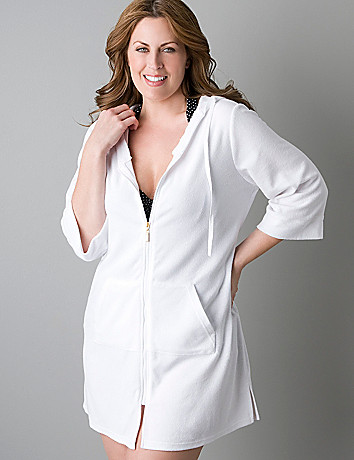 Zip front terry swim cover up by Lane Bryant