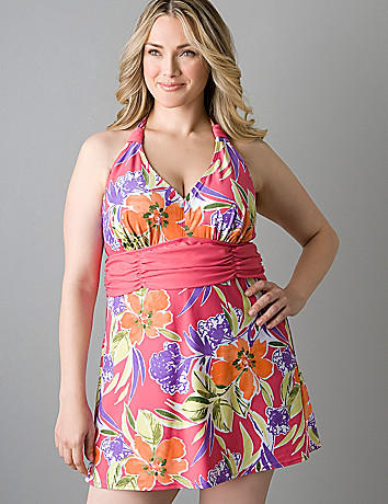 Plus size Tahitian print swim dress