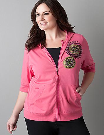 Plus size medallion print short sleeve hoodie