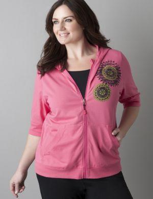 Medallion print short sleeve hoodie