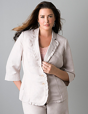 Plus sized 3/4 sleeve linen jacket