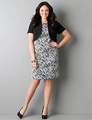 Print dress with bolero shrug