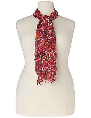 Sequin embellished paisley scarf