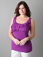 Plus size mixed lace ruffle tank