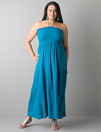 Plus size smocked halter maxi dress