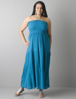 Smocked halter maxi dress