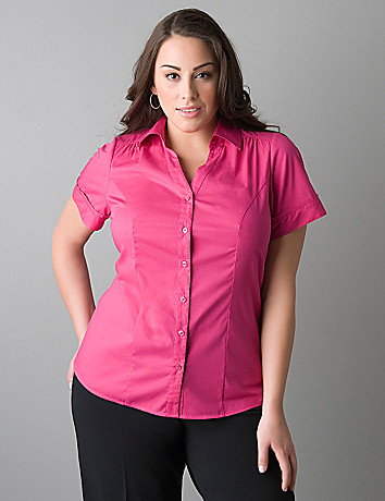 Womens plus size short sleeve button front shirt