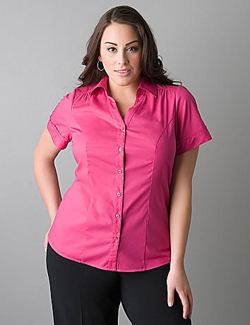 Womens plus size short sleeve button front shirt