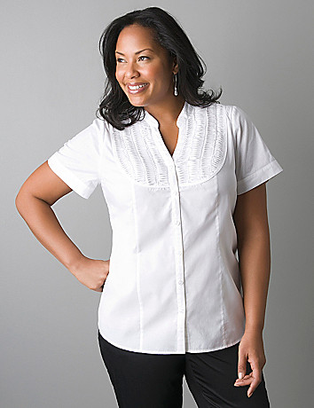 Plus size pintuck button front blouse