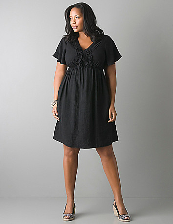 Plus size rosette trim dress