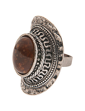 Chocolate glitter stone ring