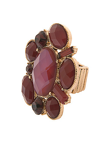 Plus size faceted stone cluster stretch ring