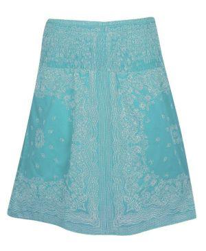 Turquoise Smock Waist Skirt