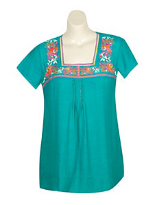 Turquoise Embroidered Top by Blue Plate