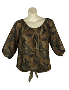 Tie Front Camo Top by Millenium