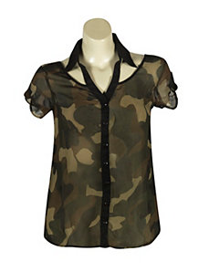 Sheer Camouflage Top by Millenium