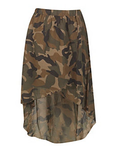 Hi Low Camouflage Skirt by Millenium