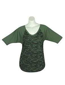 Green Camo Top by One Step Up Plus
