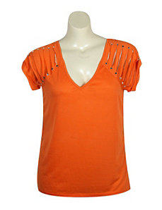 Slashed Orange Knit Top by One Step Up Plus