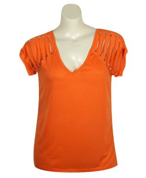 Slashed Orange Knit Top
