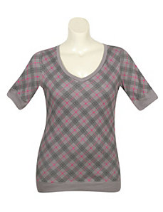 Grey Proper Plaid Top by One Step Up Plus