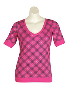 Pink Proper Plaid Top by One Step Up Plus