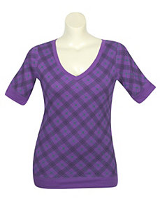 Purple Proper Plaid Top by One Step Up Plus