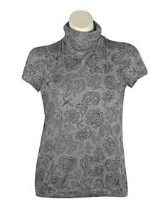 Grey Fun Floral top by One Step Up Plus