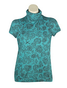 Turquoise Fun Floral Top by One Step Up Plus