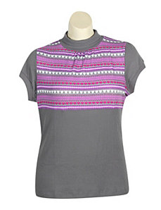 Grey Mock Turtle Top by One Step Up Plus