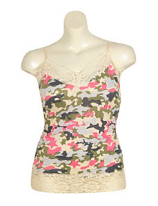 Lace Trim Camouflage Tank by One Step Up Plus