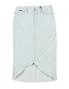 Frayed Long Denim Skirt by Revolt Jeans