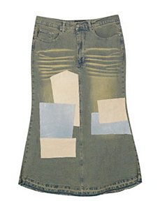 Patch Long Denim Skirt by Revolt Jeans