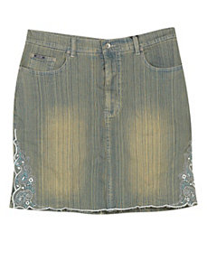 Embroidered Short Denim Skirt by Revolt Jeans
