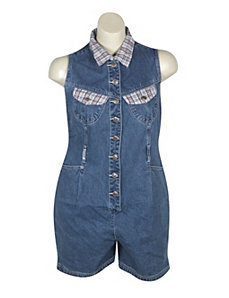 Plaid Denim Shortall by Revolt Jeans