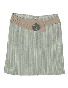 Khaki Striped Short Denim Skirt by Revolt Jeans